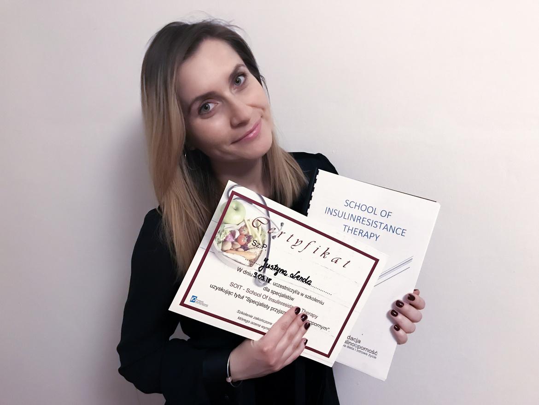 Dietetyk kliniczny Justyna Lenda, poradnia dietetyczna Just Food Therapy/certyfikaty